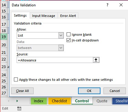Data Validation Dialog Changes to Edit Mode